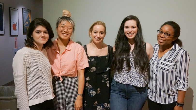 From left to right: Marie-Therese Cummings '18, Levinson Intern; Kimberly Yu '18, Homma Family Intern;Tess McGuiness '18, Conroy Intern; Gina Campanelli '18, Class of 1954 Intern, and Ashley Dotson '18, Conroy Intern.