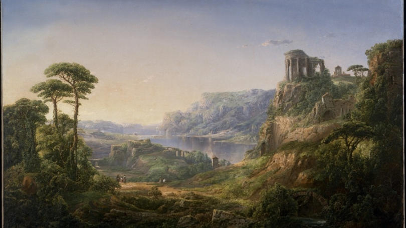 William Louis Sonntag, Italian Lake with Classical Ruins, 1858, oil on canvas