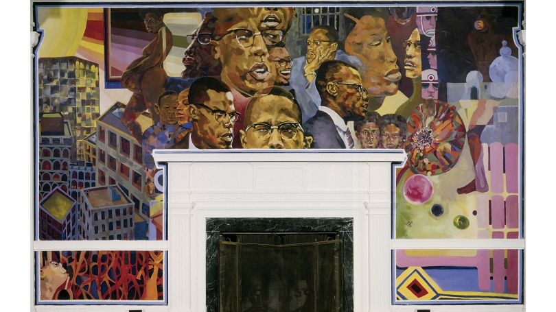Florian Jenkins, The Life of Malcolm X, June 15–October 15, 1972, acrylic on cotton canvas and linen canvas. Commissioned by the Afro-American Society, Dartmouth College; P.972.231.