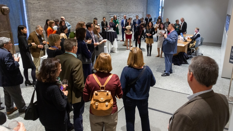 Director John Stomberg addressing guests and attendees of the New Now Symposium during a reception in October 2020. Photo by Rob Strong.