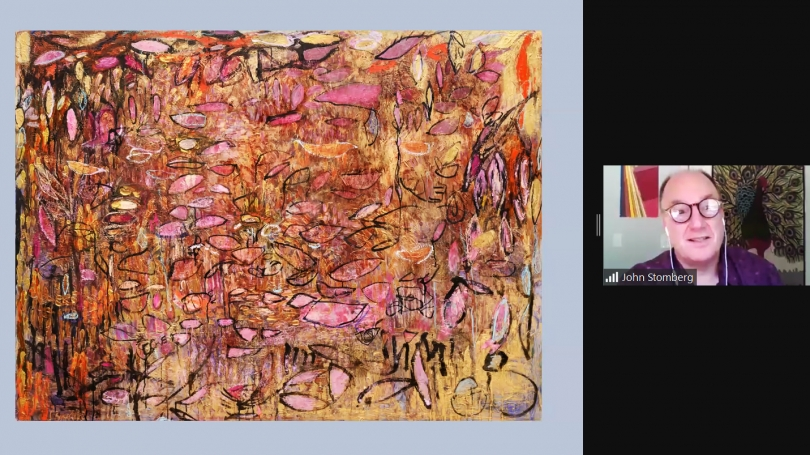 Director John Stomberg presents during a virtual studio visit with artist Silvia Bonotto.
