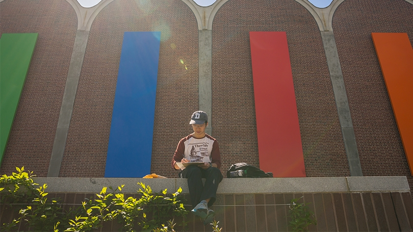 Student sitting in front of Ellsworth Kelly's Dartmouth Panels