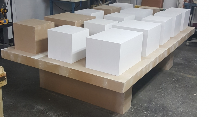 Table and blocks custom-made for this installation by Hood Museum of Art Lead Preparator, John Reynolds.