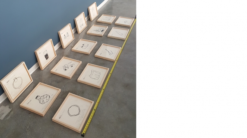 Laying out the drawings to be hung for Grid of Prefixed Acousmatics.