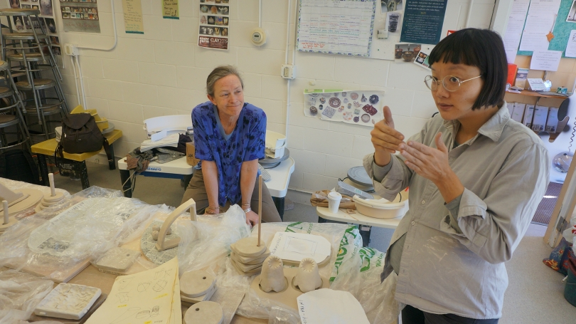 Christine Sun Kim discussing her work with artist and teacher Karin Rothwell at the Hanover League of New Hampshire Craftsmen. Photo by Amelia Kahl.