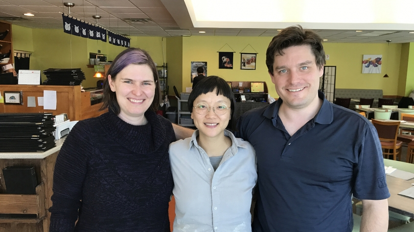 Chrstine Sun Kim (center) with curators Amelia Kahl and Spencer Topel in Hanover, New Hampshire, April 2017.