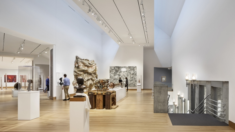 Looking across the renovated second-floor galleries in the Hood Museum of Art, featuring installations of contemporary African art, Melanesian art, and contemporary Aboriginal Australian art. Photograph © Michael Moran.