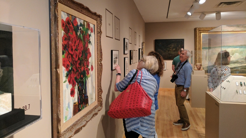 Members of the Lathrop Fellows group exploring an art exhibition at WCMA as part of the August 2017 joint Lathrop/Bentley Fellows Trip through the Berkshires.
