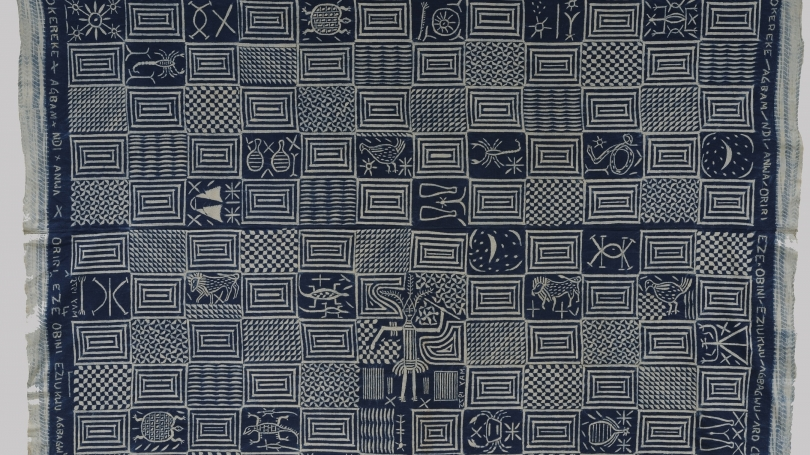 Mazi Okereke Agbam of Arochukwu's personalized ukara cloth