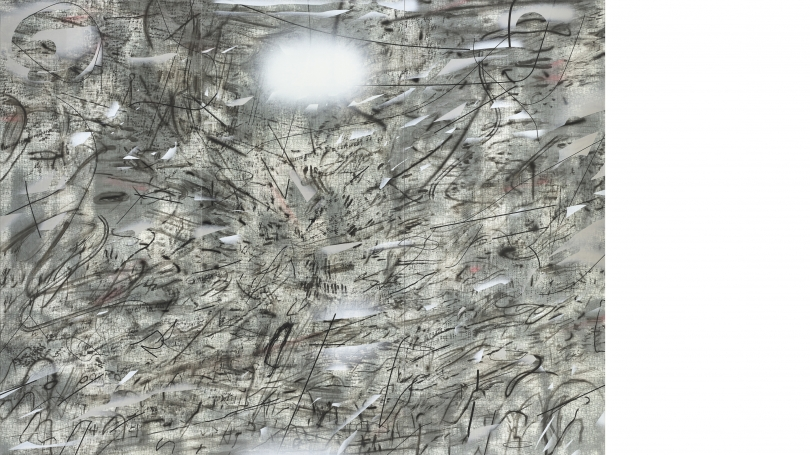 Julie Mehretu, Iridium over Aleppo(detail), 2018, ink and acrylic on linen. Purchased through a gift from Evelyn A. and William B. Jaffe, Class of 1964, by exchange; 2018.13.