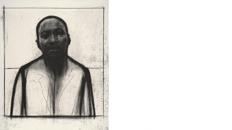 John Wilson, Martin Luther King, Jr., 2002, etching and aquatint with chine collé. Purchased through the Olivia H. Parker and John O. Parker '58 Acquisition Fund; PR.2002.17.2. © John Wilson