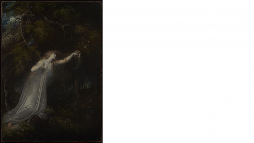 Richard Westall, Ophelia, 1793, oil on canvas. Gift of Henry H. Erbe III, Class of 1984, and Margaret Trevisani Erbe, Tuck 1989; 2013.27.