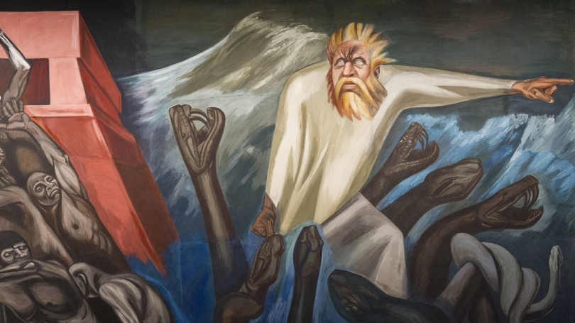 Detail from José Clemente Orozco, The Epic of American Civilization: The Departure of Quetzalcoatl (Panel 7), 1932-34, fresco. Hood Museum of Art, Dartmouth College: Commissioned by the Trustees of Dartmouth College; P.943.13.7. Photo by