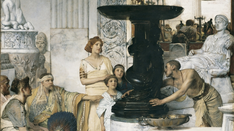 Lawrence Alma-Tadema, Dutch, 1836-1912, The Sculpture Gallery (detail), 1874, oil on canvas. Hood Museum of Art, Dartmouth: Gift of Arthur M. Loew, Class of 1921A; P.961.125.