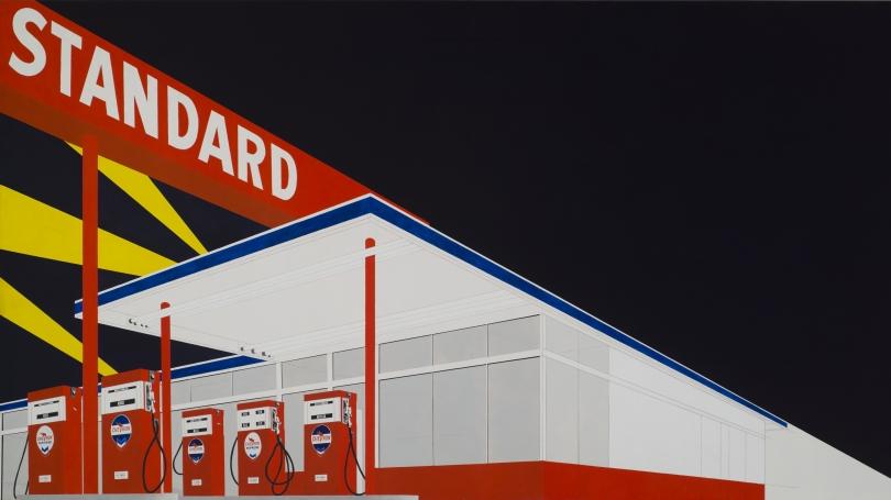 Edward Joseph Ruscha, American, born 1937, Standard Station, Amarillo (detail), Texas, 1963, oil on canvas.