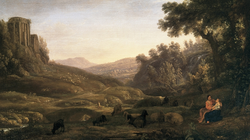 Claude Lorrain, French, 1604-1682, Landscape with a Shepherd and Shepherdess (detail), about 1636, oil on canvas.