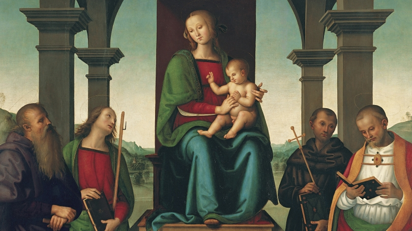 Perugino (Pietro di Cristoforo Vannucci) and Workshop, Italian, about 1450 1523, Virgin and Child with Saints (detail), about 1500, oil and tempera on panel.