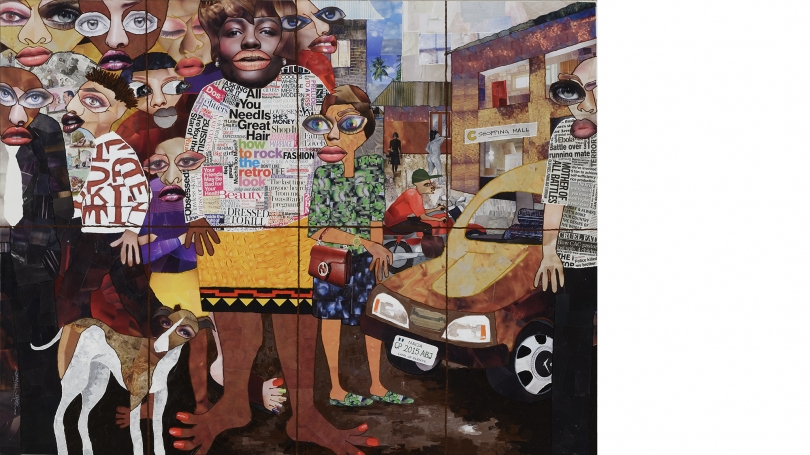 Chike Obeagu, City Scape and City Dwellers II, 2015, mixed media. Purchased through a gift by exchange from Mr. and Mrs. Joseph H. Hazen; 2015.16.