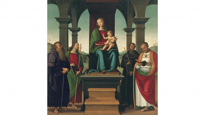 Perugino (Pietro di Cristoforo Vannucci) and Workshop, Virgin and Child with Saints, about 1500, oil and tempera on panel. Purchased through the Florence and Lansing Porter Moore 1937 Fund; P.999.2.