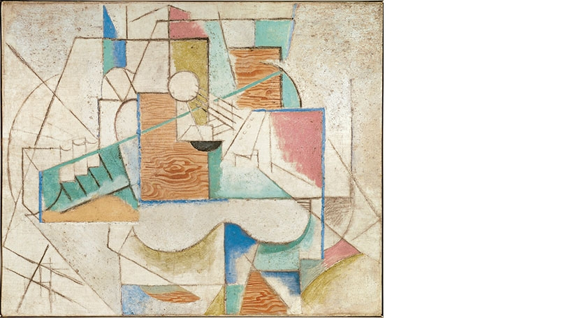 Pablo Picasso,Guitar on a Table, 1912, oil, sand, and charcoal on canvas