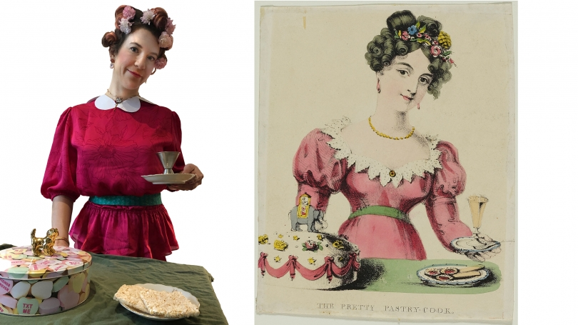 """Museum Educator Jamie Rosenfeld chose to recreate """"The Pretty Pastry Chef"""" (unknown English artist, 19th century)."""