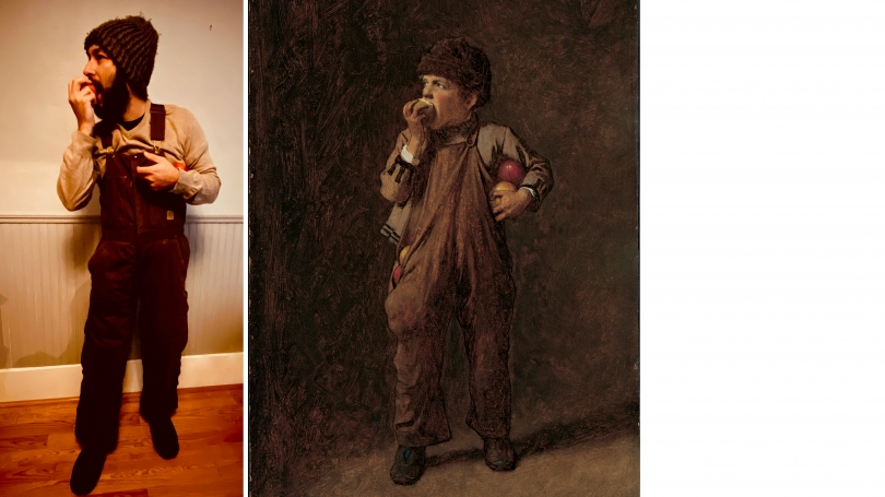 """Visitor Service Guide Manager Andrew Turner recreated Eastman Johnson's """"Back from the Orchard"""" (1876)."""