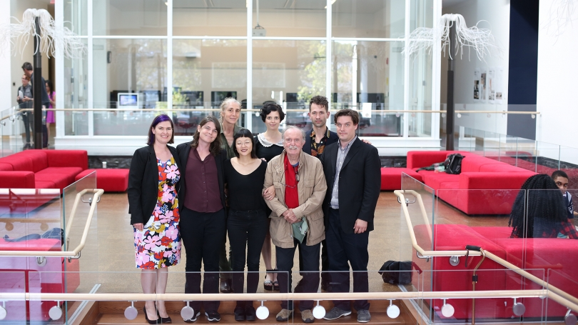 Resonant Spaces curators and artists. From left to right, front row: Amelia Kahl, Jess Rowland, Christine Sun Kim, Alvin Lucier, Spencer Topel; back row: Julianne Swartz, Laura Maes, Jacob Kirkegaard.