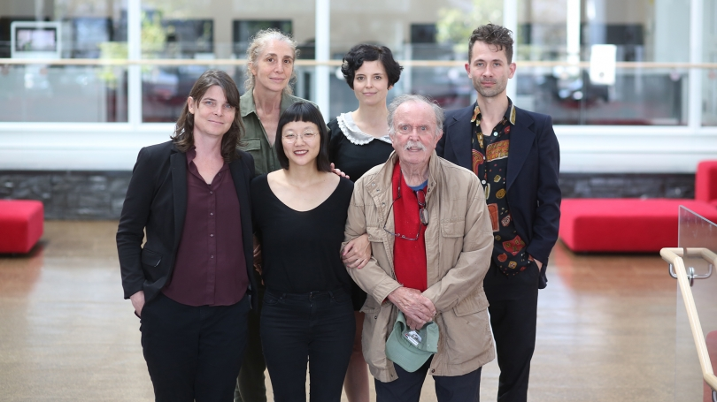 Resonant Spaces artists. From left to right, front row: Jess Rowland, Christine Sun Kim, Alvin Lucier; back row: Julianne Swartz, Laura Maes, Jacob Kirkegaard