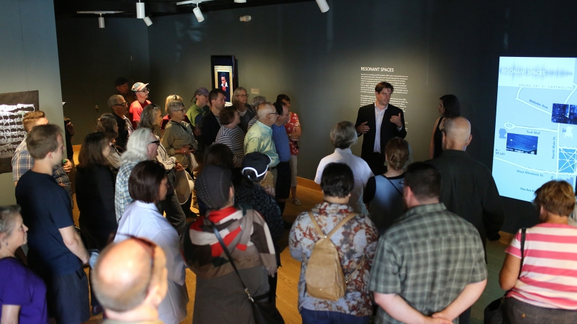 Spencer Topel gives an introduction before the symposium walking tour.