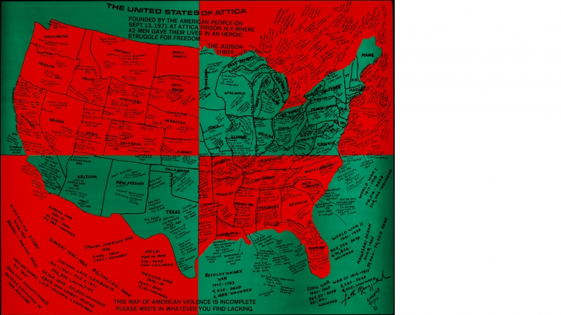Faith Ringgold, United States of Attica, 1971–72, offset lithograph. Gift of the artist and ACA Galleries, New York; 2012.23. © Faith Ringgold 1971