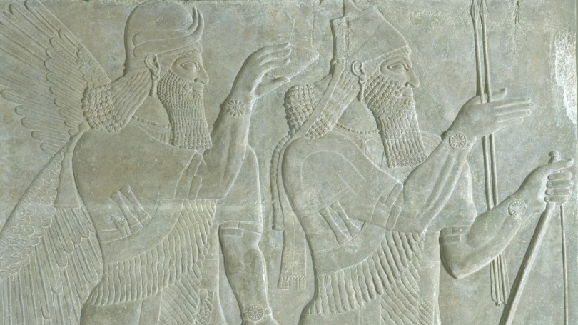 Reign of Ashurnasirpal II, The King and Genie: Relief from the Northwest Palace of Ashurnasirpal II at Nimrod (detail), 883-859 BCE, gypsum. Hood Museum of Art, Dartmouth: Gift of Sir Henry Rawlinson through Austin H. Wright, Class of 1830; S.856.3.2.