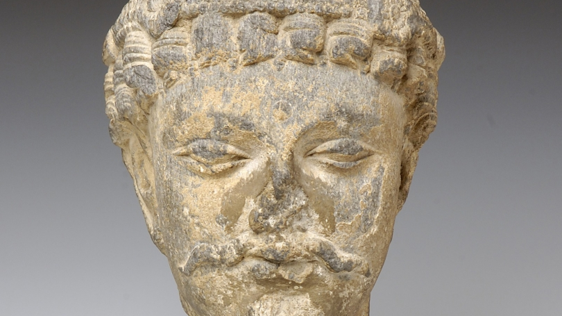 Unknown Indian, Indian, Dhyani-Bodhisattva (detail), 144-241, stone. Hood Museum of Art, Dartmouth: Anonymous gift in honor of D. H. Beskind, Class of 1936; S.960.105.2.