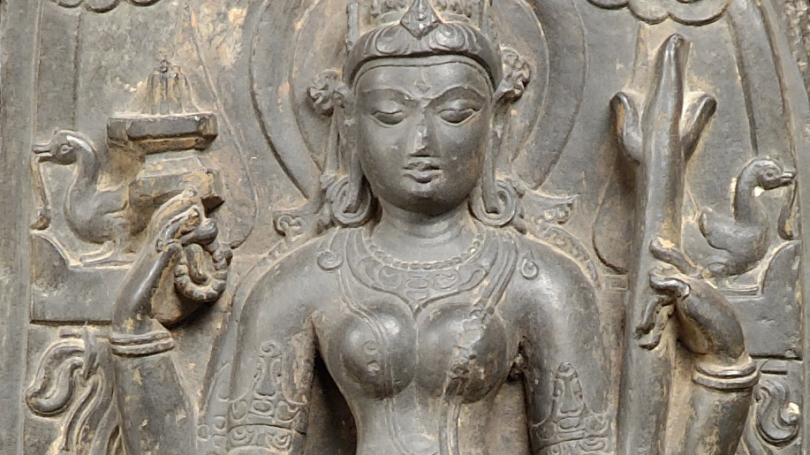 Pala Dynasty, Parvati as Candika (detail), Pala Dynasty (about 900-1100), black limestone. Hood Museum of Art, Dartmouth: Gift of D. Herbert Beskind, Class of 1936; S.967.107.