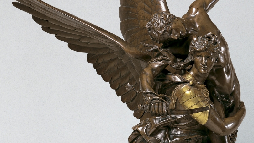 Marius Jean Antonin Mercie, French, 1845 - 1916, Gloria Victis! (Glory to the Vanquished), after 1874, cast after 1879, bronze. Hood Museum of Art, Dartmouth: Purchased through a gift from Jane and W. David Dance, Class of 1940; S.999.5.2.