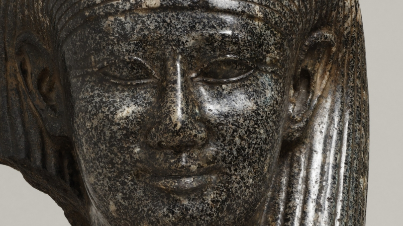 Egyptian, Head of a God (detail), Late Period, Dynasty 30, 4th century BCE, Granodiorite. Hood Museum of Art, Dartmouth: Gift of the Estate of Mary C. Rockefeller, Class of 1930W, and her son, Rodman C. Rockefeller, Class of 1954; S.999.52.