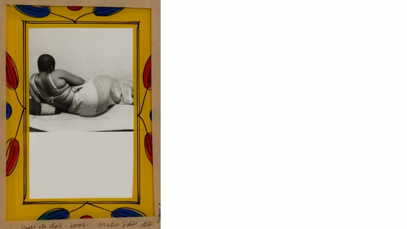 Malick Sidibe,Back Views (Vues de Dos), 2002, gelatin silver print, glass, cardboard, tape, and string. Purchased through the Olivia H. Parker and John O. Parker '58 Acquisition Fund; PH. 2003.36