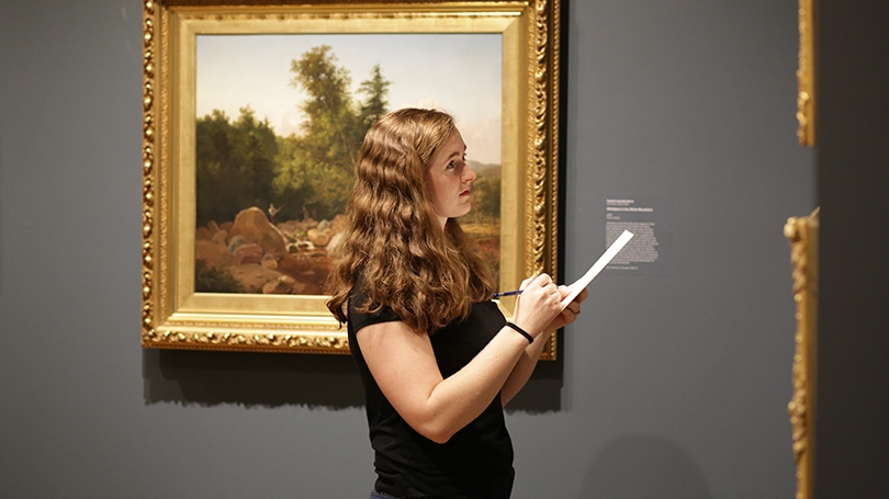 Student sketches from a work of art on view during a Sip and Sketch event.
