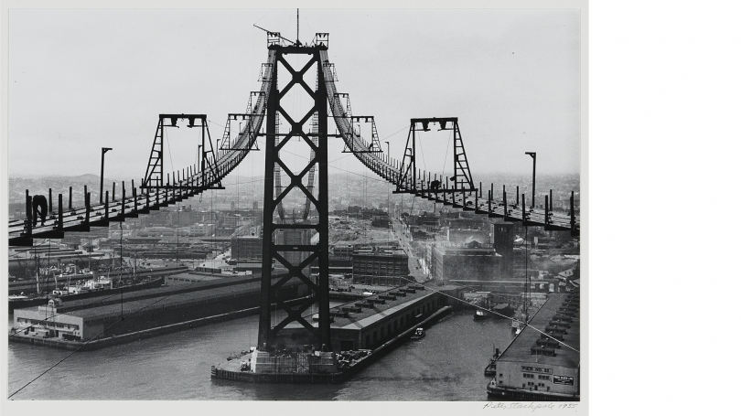 Peter Stackpole, Port of San Francisco Bay Bridge, Silhouette, 1935 (print date unknown), gelatin silver print. Purchased through the Elizabeth and David C. Lowenstein '67 Fund and the Fund for Contemporary Photography; 2016.30.10.