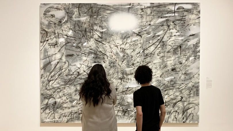 In the Hood's Lathrop Gallery with Julie Mehretu's Iridium over Aleppo (2016). Photo by Alison Palizzolo.