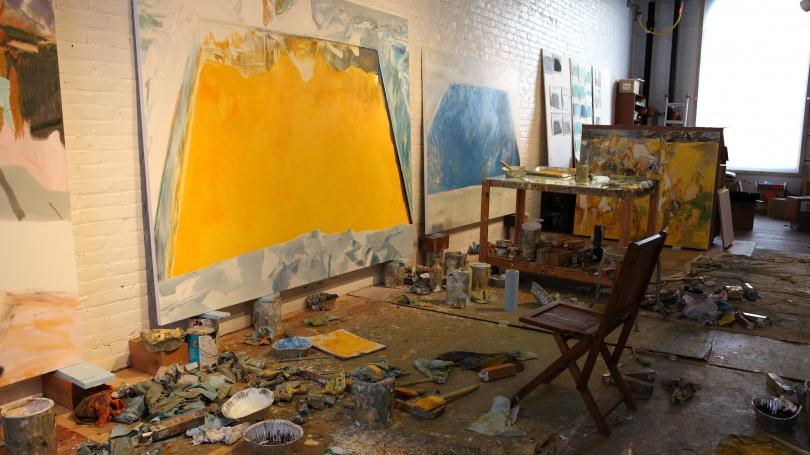 The Eric Aho's studio with Ice Cut (Arctic Sky), 2015