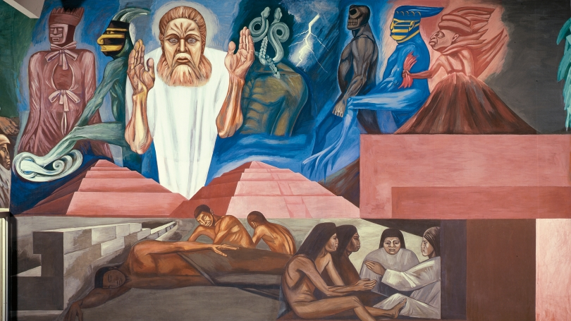 Detail from José Clemente Orozco, The Epic of American Civilization: The Coming of Quetzalcoatl (Panel 5), 1932–34, fresco. Hood Museum of Art, Dartmouth: Commissioned by the Trustees of Dartmouth College; P.934.13.5. Photo by Jeffrey Nintzel.