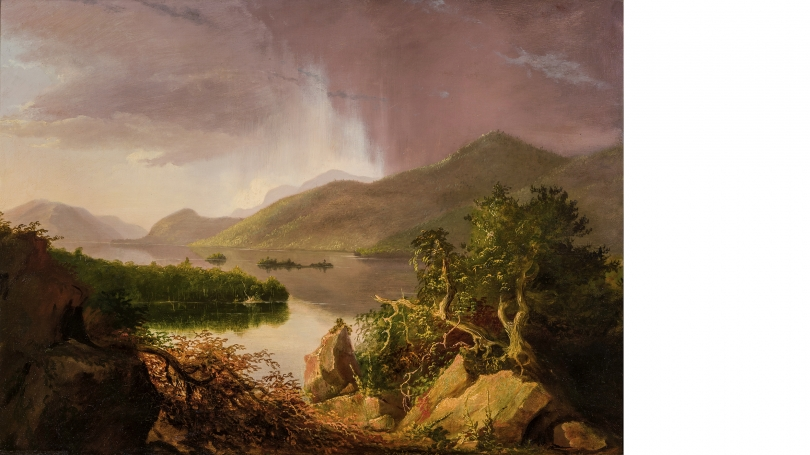 Thomas Cole, View on Lake George, 1826, oil on wood panel. Hood Museum of Art, Dartmouth: Purchased through a gift from Evelyn A. and William B. Jaffe, Class of 1964H, by exchange; 2017.11.