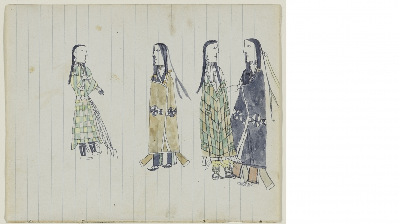"""Unknown artist (""""Guthrie"""" Notebook), Tsistsistas / American, Untitled (Two Southern Tsistsistas (Cheyenne) Courting Couples), from the """"Robert Allen Guthrie Notebook"""", about 1874-1875, Watercolor and ink on wove blue lined notebook paper, Mark Lansburgh L"""