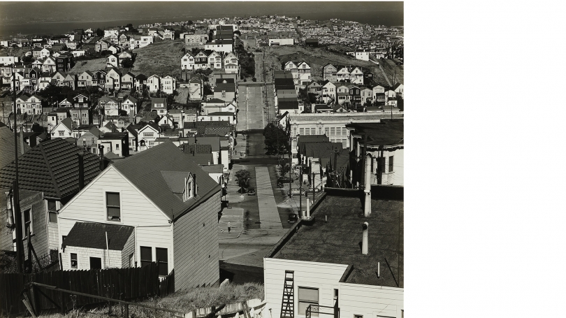 Brett Weston, Buildings and Street, San Francisco, 1939, gelatin silver print. Purchased through the Sondra and Charles Gilman Jr. Foundation Fund and the Anonymous Fund #144; 2016.29.2.