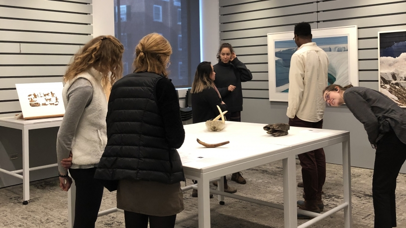 Students in the Bernstein Center for Object Study to view works of art related to ice and snow during Hood's Winter Carnival Warm-Up.