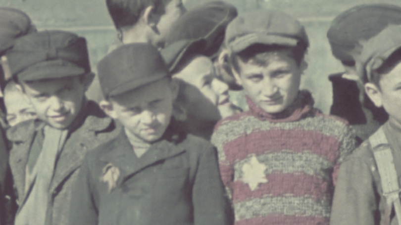 Walter Genewein, Detail of Ghetto Schoolchildren Holding Small Pails and Cups Wait in Line outside the Ghetto Soup Kitchen, 1941. United States Holocaust Memorial Museum: Courtesy of Robert Abrams; 74514A.