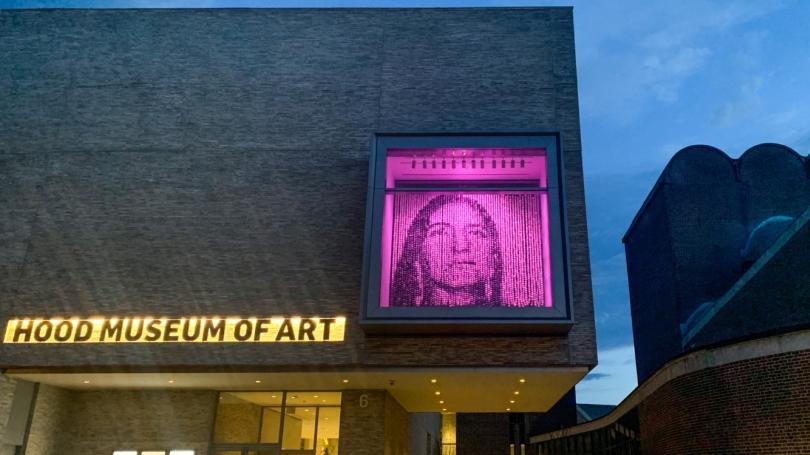 Hood Museum at night