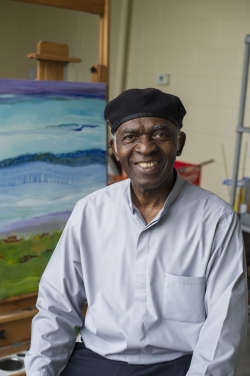 Artist Obiora Udechukwu. Photo by Tara Freemane. Courtesy of St. Lawrence University, New York.