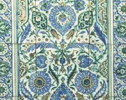Unidentified Iznik style maker, Ottoman Empire, Panel of Tiles from a Public Fountain (cheshme), dated 1013