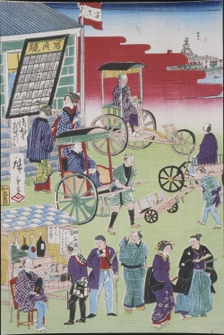 A detail of a colorful Japanese woodblock print on paper depicting a busy city street in Japan.